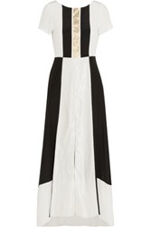 Zeus Dione Electra Lame Striped Crepe De Chine And Slub Silk Maxi Dress White