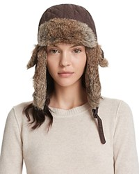Surell Quilted Aviator Hat With Rabbit Fur Trim Brown Heather