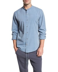 Vince Raw Stand Collar Chambray Shirt Blue