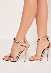 Missguided Asymmetric Strap Barely There Heels Rose Gold