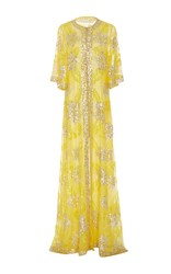 Naeem Khan Metallic Sequin Embellished Sheath Gown Yellow