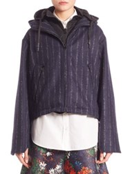 Cedric Charlier Hooded Zip Front Jacket Blue