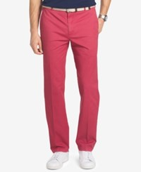 Izod Men's Straight Flat Front Pants Saltwater Red