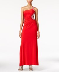 City Triangles City Studios Juniors' Rhinestone Trim One Shoulder Gown