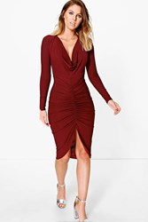 Boohoo Long Sleeved Cowl Neck Midi Dress Berry