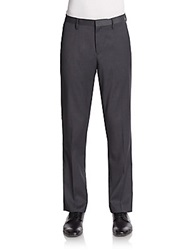 Saks Fifth Avenue Red Trim Fit Flat Front Trousers Charcoal