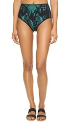Mara Hoffman Lace High Rise Bikini Bottoms Floral Jacquard Black