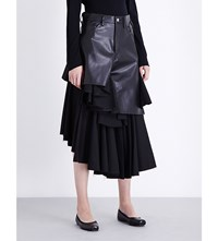 Junya Watanabe Ruffled Faux Leather And Wool Skirt Black X Black