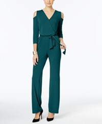 Ny Collection Petite Cold Shoulder Jumpsuit Shaded Spruce
