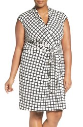 Eliza J Plus Size Women's Print Jersey Cap Sleeve Faux Wrap Dress Ivory Black