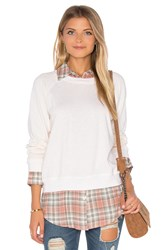 Monrow Plaid Double Layer Sweatshirt Ivory