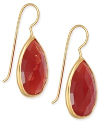 Paul And Pitu Naturally Faceted Stone Teardrop Earrings Gold