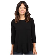 Lilla P Pima Modal Flared Hem Top Black Women's Clothing