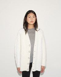 Alexander Wang Cable Striped Cardigan Ivory