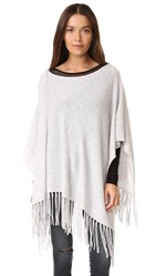 White Warren Cashmere Two Way Fringe Poncho Silver Heather