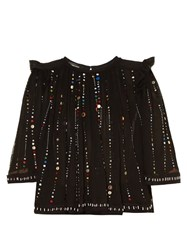 Isabel Marant Fordon Galaxy Embroidered Top Black Multi