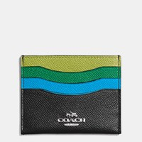 Coach Flat Card Case In Colorblock Leather Silver Black Multi