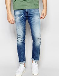 Replay Jeans Anbass Slim Fit Stretch Broken Edge Extreme Distressed Mid Wash Mid Distress Wash