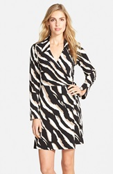 Zebra Print Jersey Faux Wrap Dress Online Only Khaki Multi