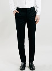 Topman Premium Black Textured Skinny Fit Tuxedo Trousers