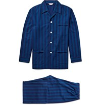 Derek Rose Arctic Striped Cotton Flannel Pyjama Set Blue