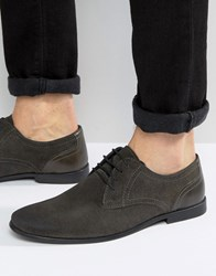 Asos Lace Up Shoes In Grey Suede Grey