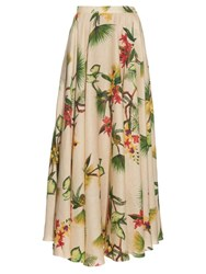 Isolda Tropical Floral Print Linen Maxi Skirt Beige Multi