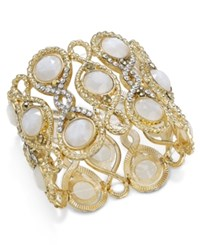 Inc International Concepts Gold Tone White Stone And Pave Filigree Stretch Bracelet Only At Macy's