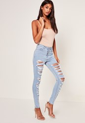 Missguided Blue Multi Authentic Rip Skinny Jeans