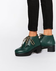 Miista Dora Platform Lace Up Leather Ankle Boots Forest Green