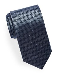 Hugo Mixed Print Silk Tie Light Blue