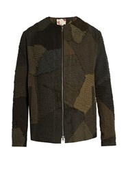 By Walid Patchwork Linen Bomber Jacket Khaki