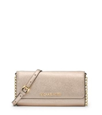 Michael Kors Jet Set Travel Metallic Saffiano Leather Chain Wallet Pale Gold