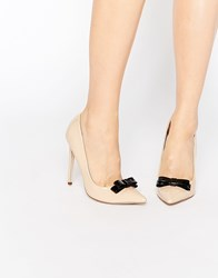 Paper Dolls Miller Bow Court Shoes Nude Patent Beige