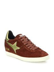 Ash Guepard Bis Suede And Faux Metallic Leather Wedge Sneakers Barolo Gold