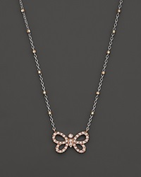 Bloomingdale's Diamond Butterfly Pendant Necklace In 14K Rose And White Gold .14 Ct. T.W. Pink
