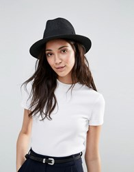 Liquorish Straw Trilby Hat With Ribbon Black