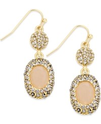 Inc International Concepts Gold Tone Pink Stone Encrusted Double Drop Fish Hook Earrings Only At Macy's