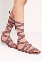 Missguided Cross Strap Wrap Around Flat Sandals Pink Mauve