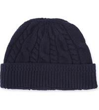 Tom Ford Cable Knit Cashmere Beanie Navy