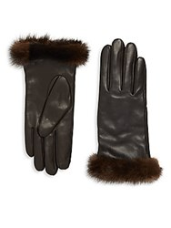 Saks Fifth Avenue Leather And Mink Fur Gloves Black