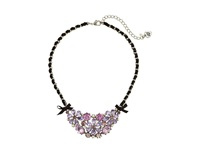 Betsey Johnson Statement Frontal Flower Bow Necklace Purple Necklace