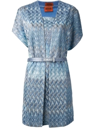 Missoni Zig Zag Crochet Knit Twin Set Blue