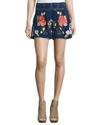 Haute Hippie The Hawaiian Embroidered Shorts Midnight