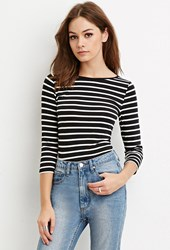 Forever 21 Classic Stripe Top Black Cream