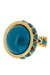 House Of Harlow Turquoise And Black Enamel Dome Ring Size 6 Metallic