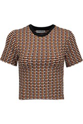 Opening Ceremony Check Cropped Jacquard Knit Top Orange