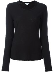 James Perse Round Neck Longsleeved T Shirt Black