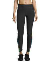 X By Gottex Colorblock Performance Leggings Black Prin