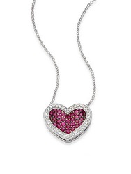Effy Ruby Diamond And 14K White Gold Heart Pendant Necklace Pink